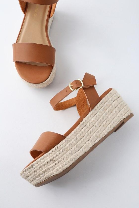 Cute Tan Sandals Espadrille Sandals Flatform Sandals