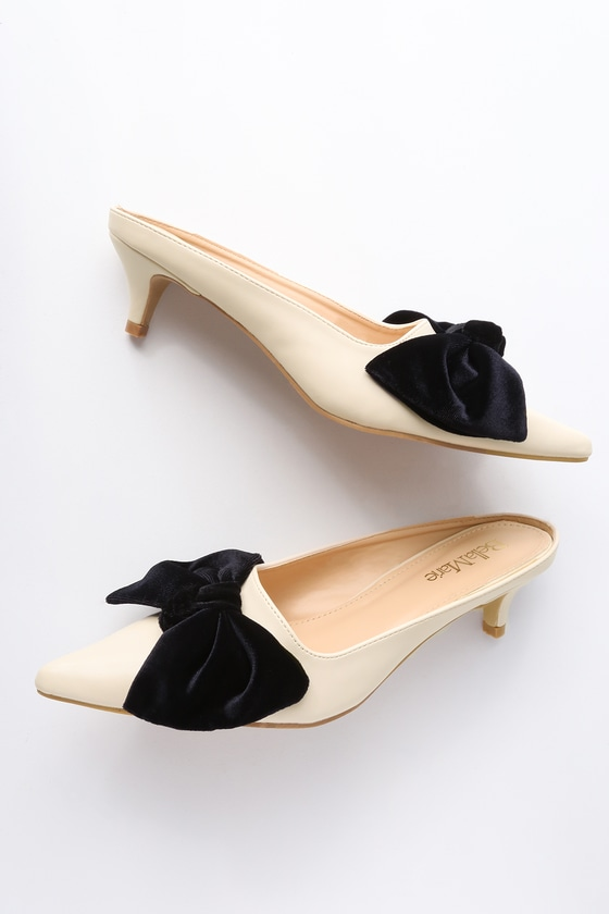 8cc99c87a7d Chic Beige Mules - Kitten Heel Mules - Bow Heels