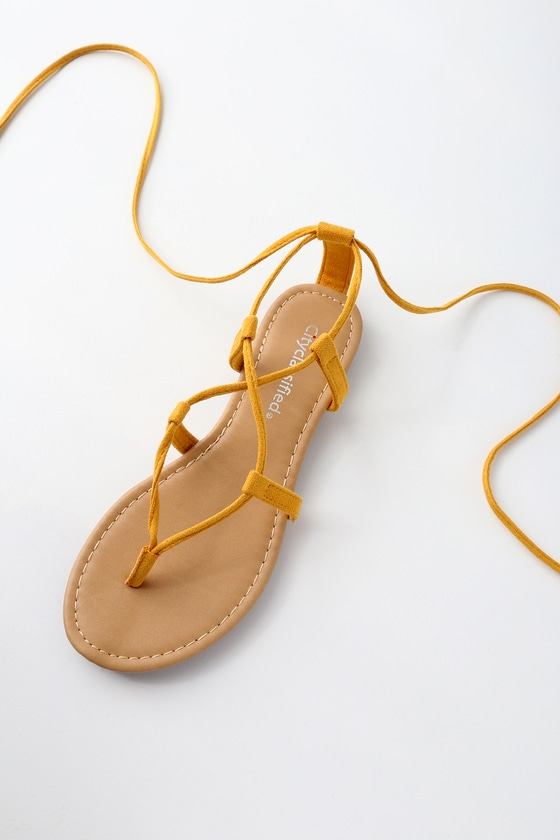 7f2ba5bba62 Cute Mustard Sandals - Lace-Up Sandals - Flat Sandals