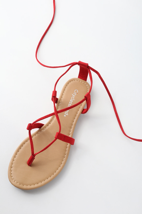 d283dd8ca0c Cute Red Sandals - Lace-Up Sandals - Flat Sandals
