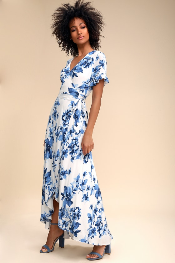 54aa5440c4 Pretty Blue and White Floral Print Dress - Wrap Maxi Dress