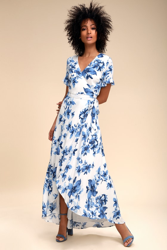 Pretty Blue And White Floral Print Dress Wrap Maxi Dress