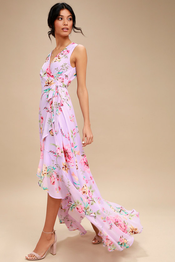 Cute Lavender Dress - Floral Print Dress - Wrap Maxi Dress