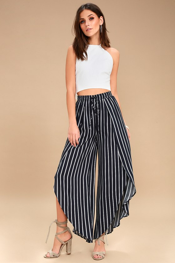 Napoleon Navy Blue And White Striped Wide Legs Pants by Lulus