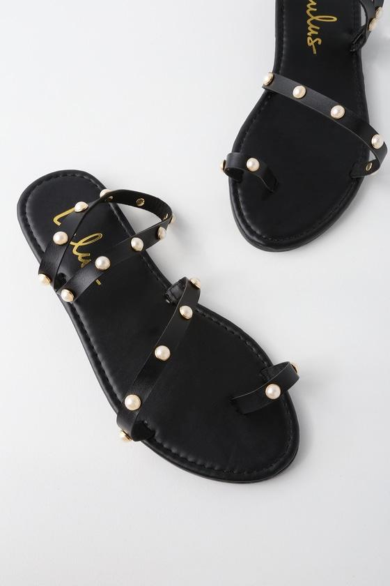 f6f5dfbc0 Cute Black Flat Sandals - Pearl Sandals - Flat Pearl Sandals