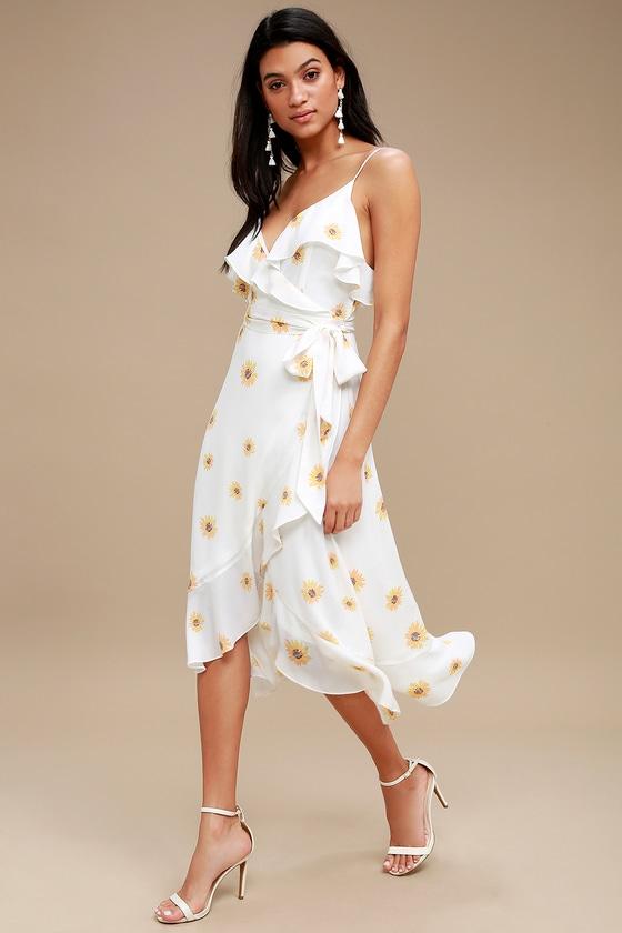 Cute White Floral Print Dress - High-Low Dress - Wrap Dress