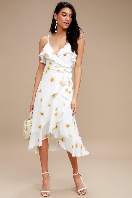 3c104ec044 Cute White Floral Print Dress - High-Low Dress - Wrap Dress