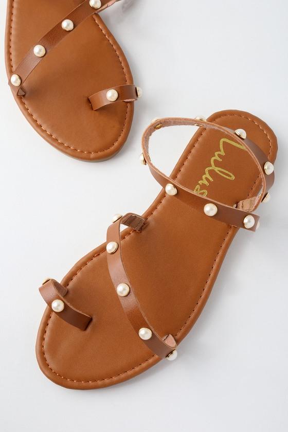 e3eefc6da Cute Tan Flat Sandals - Pearl Sandals - Flat Pearl Sandals
