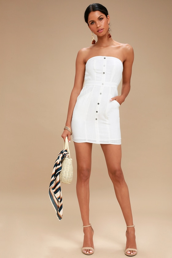 0885b47cca12 Cute White Strapless Dress - Mini Dress - Button-Front Dress