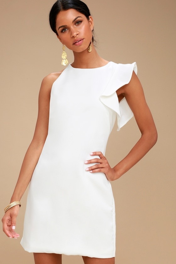 fun white dress oneshoulder dress asymmetrical dress