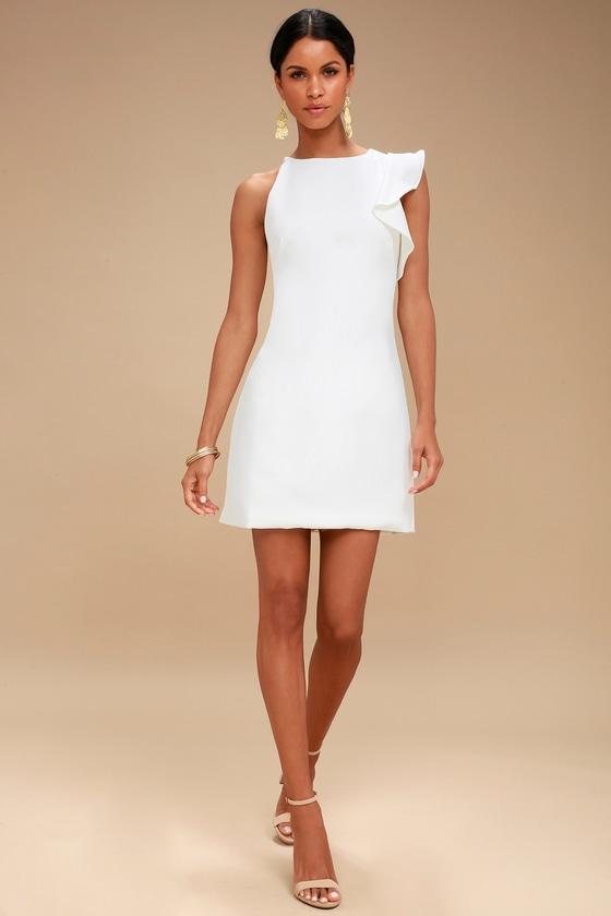 bf32f481f3a7 Fun White Dress - One-Shoulder Dress - Asymmetrical Dress