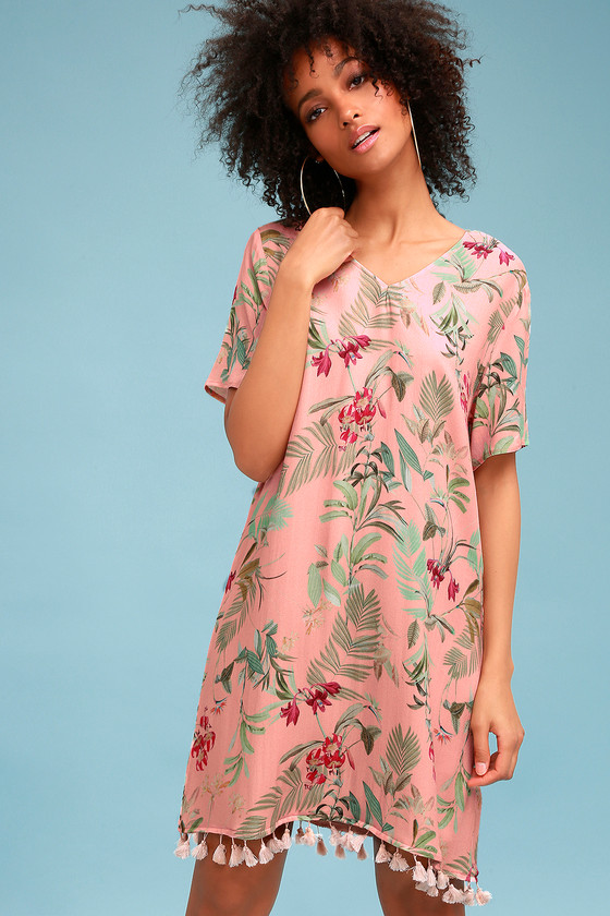 Cabana Pink Tropical Print Shift Dress by On The Road