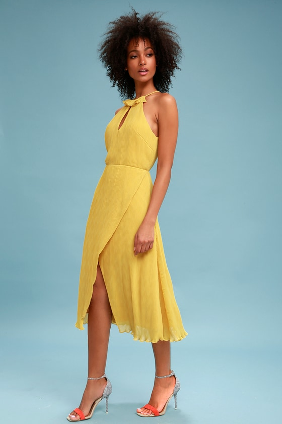 98ecaf146f Keepsake Skylines - Yellow Party Dress - Pleated Midi Dress