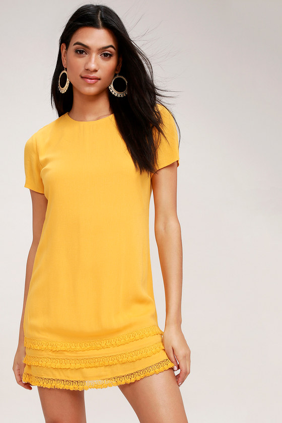 941c8ffec14d7 Cute Yellow Dress - Crochet Trimmed Dress - Shift Dress