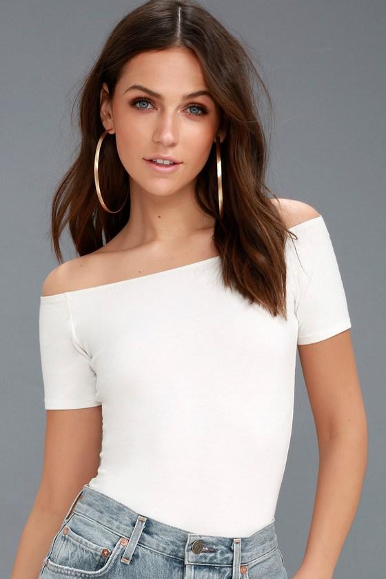 728d75e19a064 Cute White T-Shirt - Off-the-Shoulder T-Shirt - OTS Tee