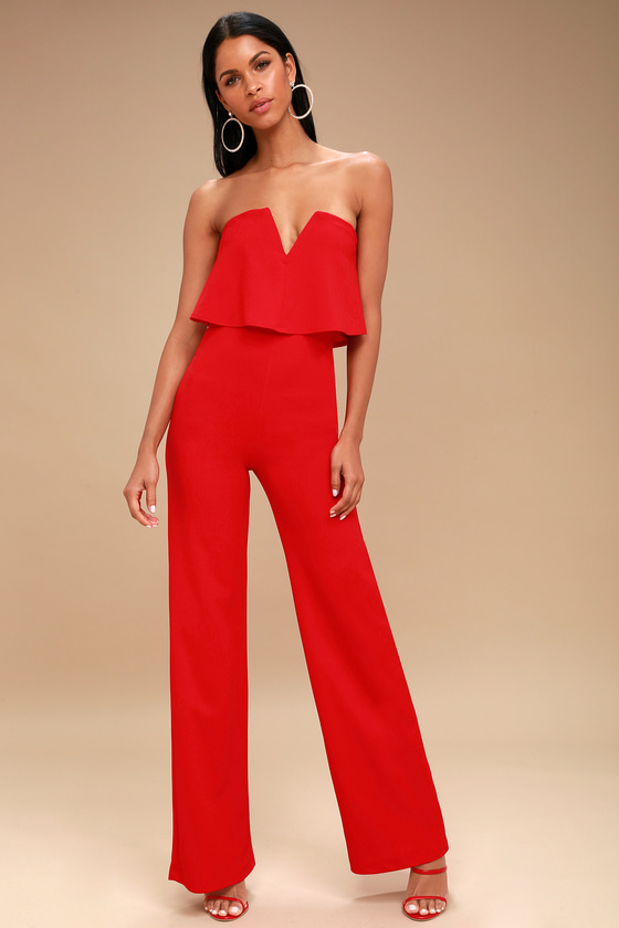 2e18ae19026 Sexy Red Jumpsuit - Strapless Jumpsuit - Wide Leg Jumpsuit