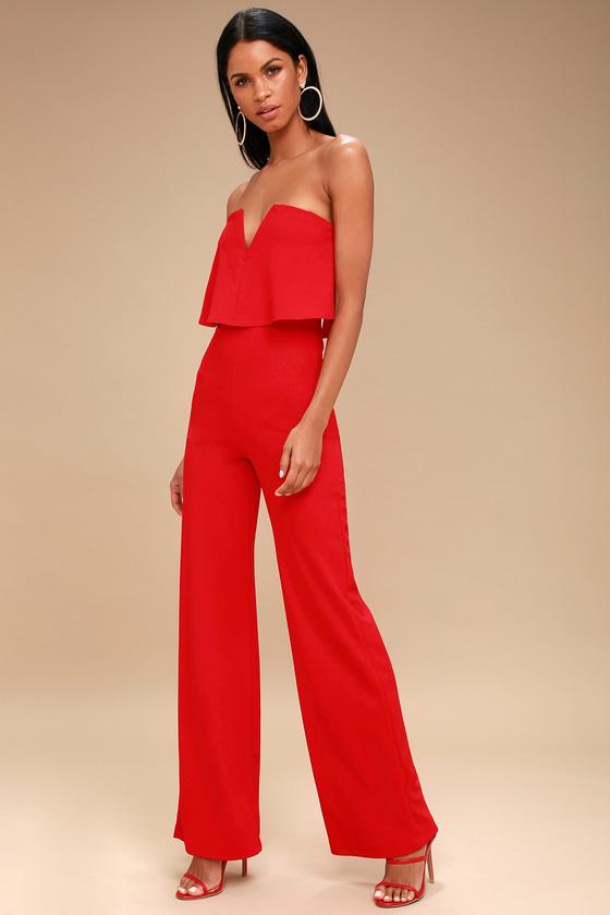 36dc3956168 Sexy Red Jumpsuit - Strapless Jumpsuit - Wide Leg Jumpsuit