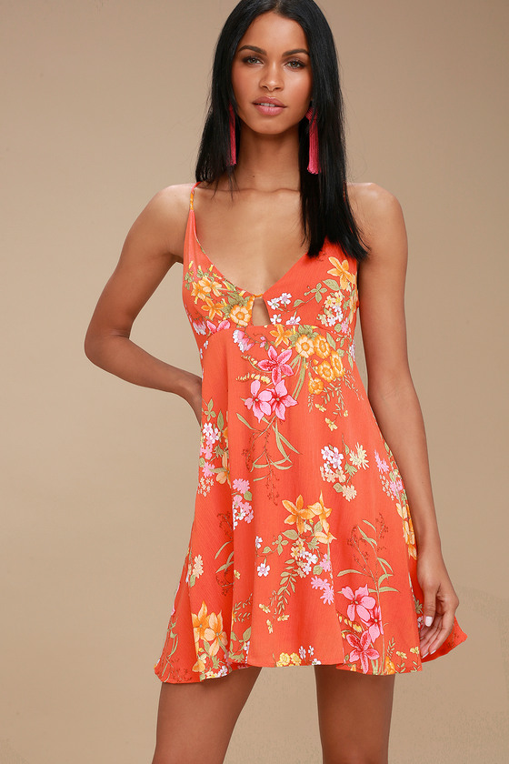7b73344737 Orange Floral Print Dress - Swing Dress - Backless Dress