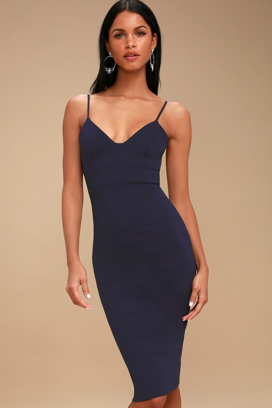 Chic Navy Blue Dress - Bodycon Dress - Sleeveless Dress 5ac9226b3037