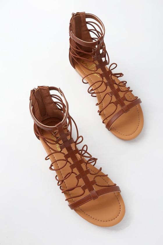 8dc4668f636 Cute Cognac Sandals - Cognac Gladiator Sandals - Flat Sandal
