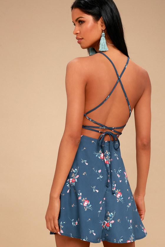bf53f6b3565e Cute Blue Floral Print Dress - Lace-Up Dress - Skater Dress
