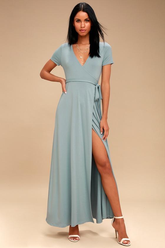 lovely slate blue dress  wrap dress  maxi dress