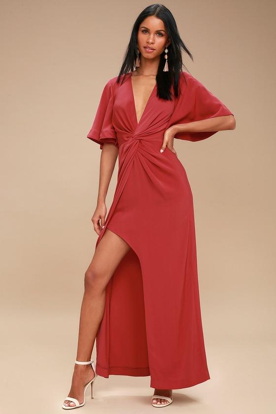 f1e332b196 Keepsake No Love - Washed Red Maxi Dress - Twisted Dress
