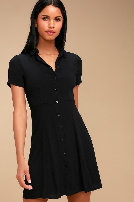 4a8dd1021a Cute Black Collared Dress - Button-Up Dress - Skater Dress
