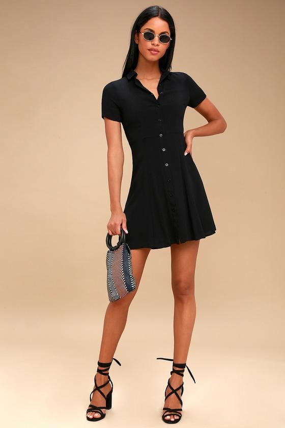 Cute Black Collared Dress Button Up Dress Skater Dress