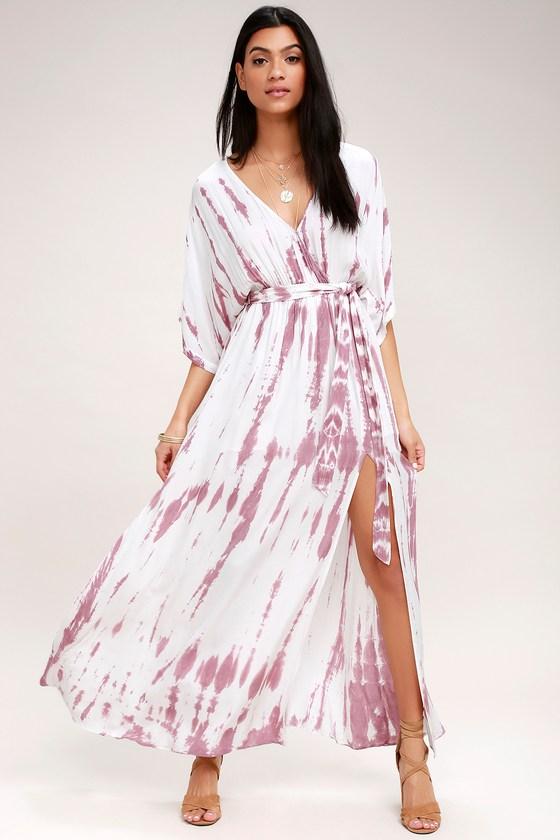 89fe13f7bc5 Lovely Mauve Tie-Dye Dress - Wrap Dress - Maxi Dress