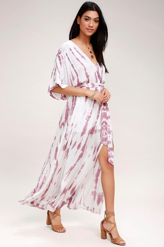 b94e2ec6fc7e9 Lovely Mauve Tie-Dye Dress - Wrap Dress - Maxi Dress