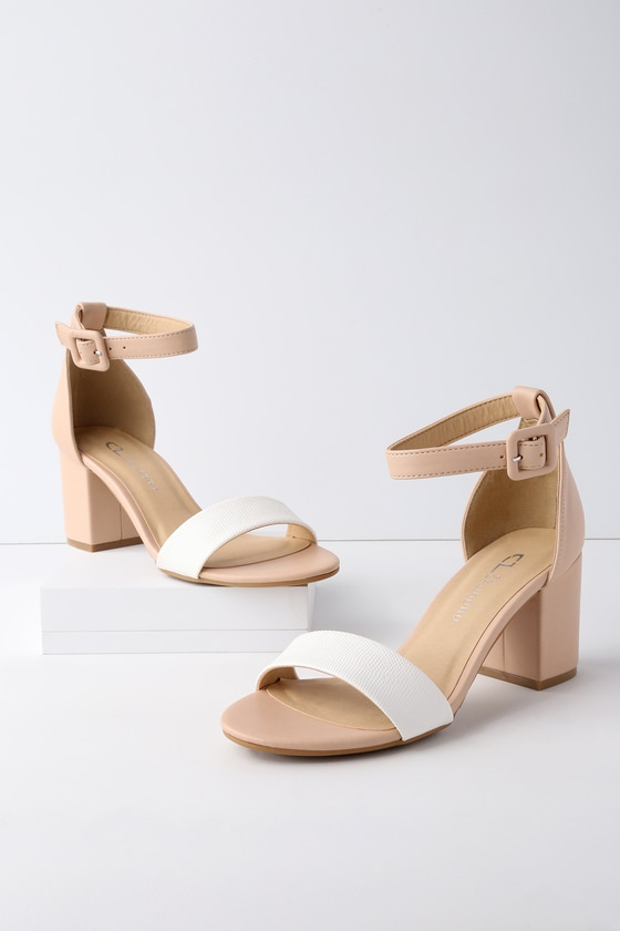 a4350aab6cd Chinese Laundry All In - White and Nude Heels - Block Heels