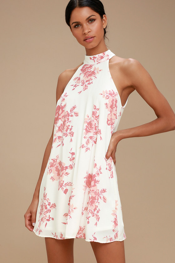 c92cfbc217d6f Cute Blush Pink and White Print Dress - Floral Print Dress