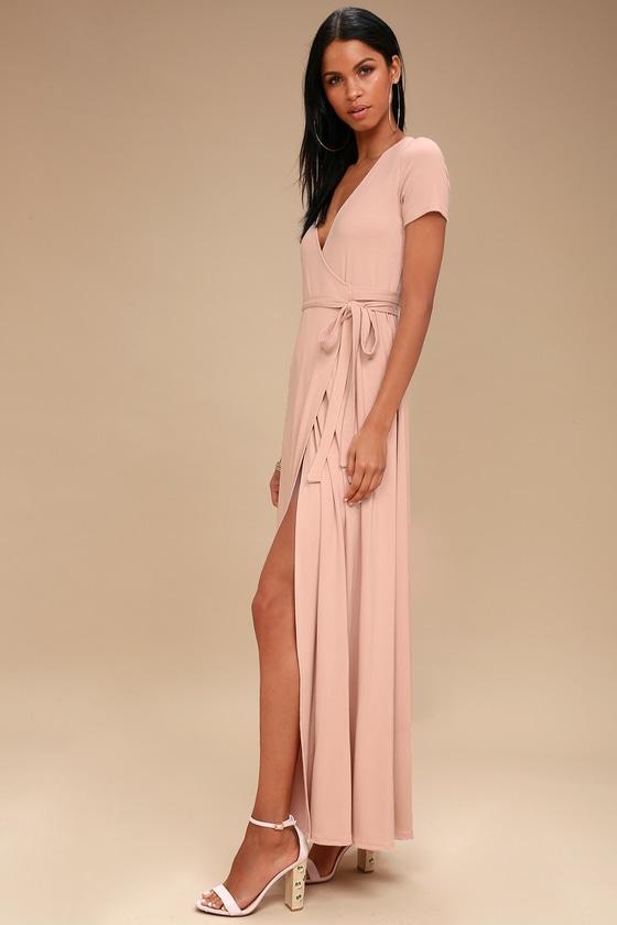 985d611c75d44 Lovely Pale Pink Dress - Wrap Dress - Maxi Dress