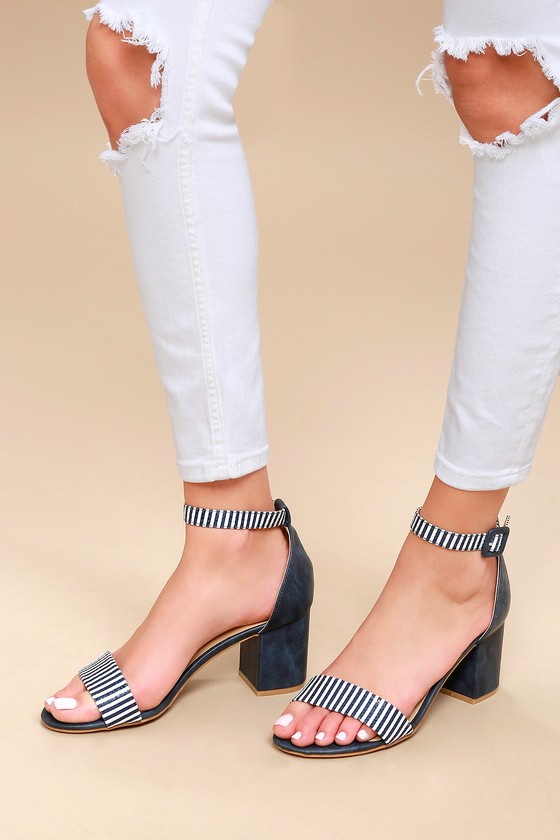 8dbb3c4a151c CL by Laundry All In - Navy Blue Heels - Striped Heels