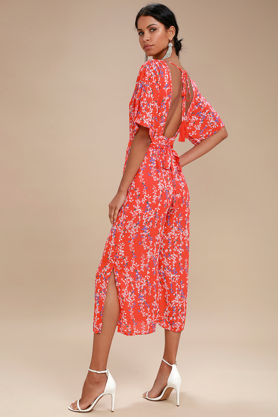 wholesale price store yet not vulgar Fiore Coral Red Floral Print Backless Jumpsuit