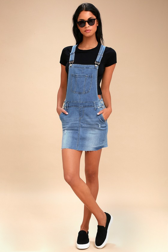 1e8132987a9 Cute Denim Dress - Overall Dress - Light Wash Denim Dress