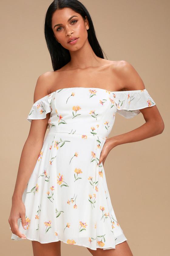 37ef4344d60 White Floral Print Dress - Off-the-Shoulder Skater Dress