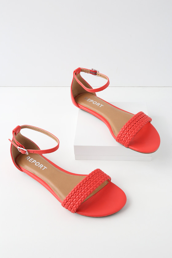 731a98cafb1 Leila Red Ankle Strap Sandals