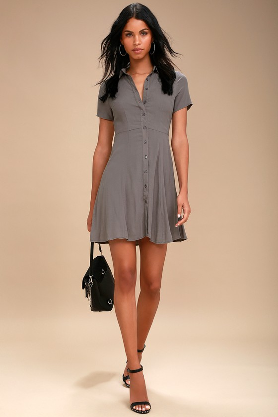 9e5c5039 Cute Grey Collared Dress - Button-Up Dress - Skater Dress