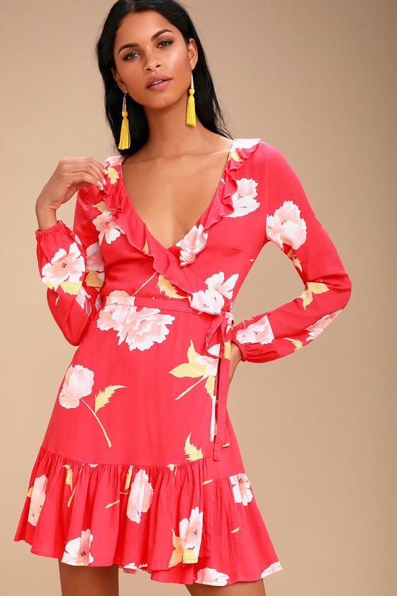 13df6716f4 Billabong Ruff Girls Club - Coral Red Wrap Dress