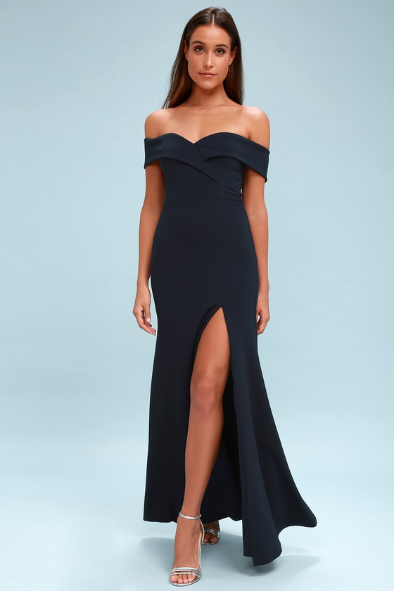 Song of Love Navy Blue Off-the-Shoulder Maxi Dress - Lulus
