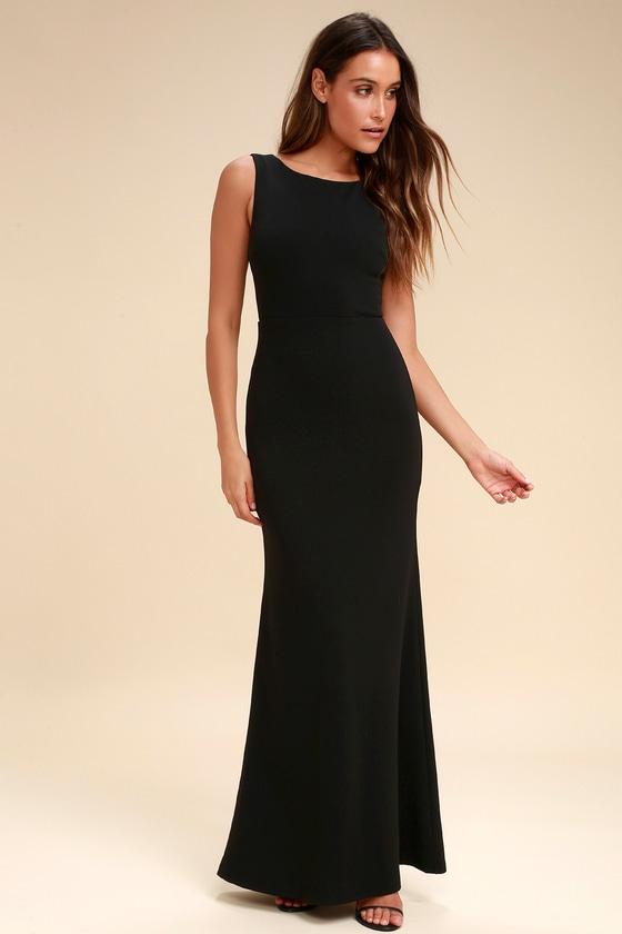 Chic Black Maxi Dress Backless Dress Mermaid Dress