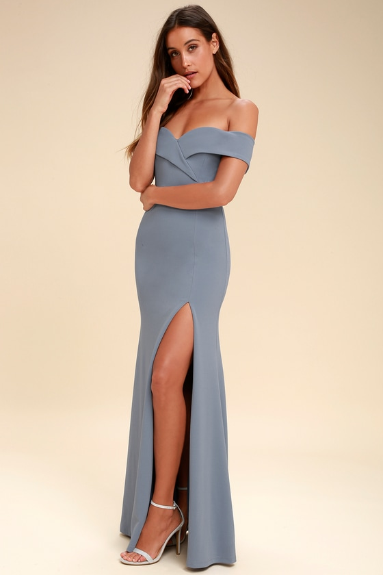 3c6ef5131cfc Lovely Blue Grey Maxi Dress - Off-the-Shoulder Maxi Dress