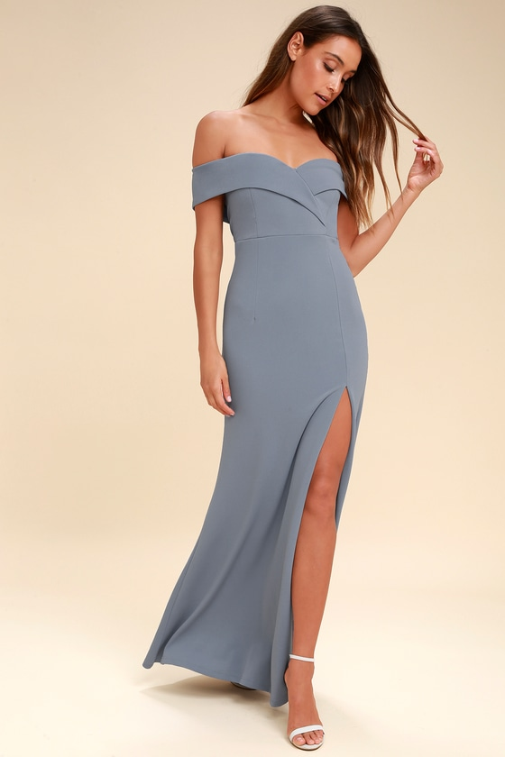 6a585ab93f1 Lovely Blue Grey Maxi Dress - Off-the-Shoulder Maxi Dress