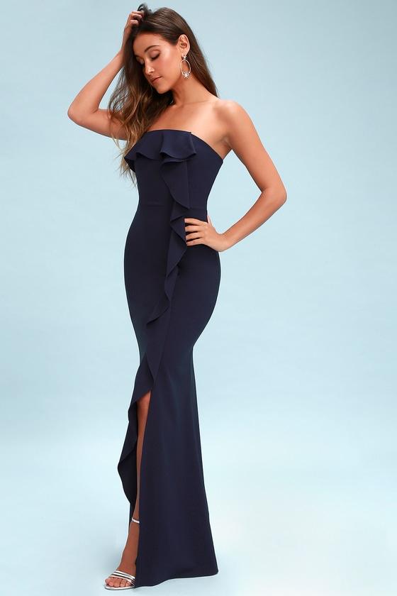 Valerie Navy Blue Ruffled Strapless Maxi Dress - Lulus