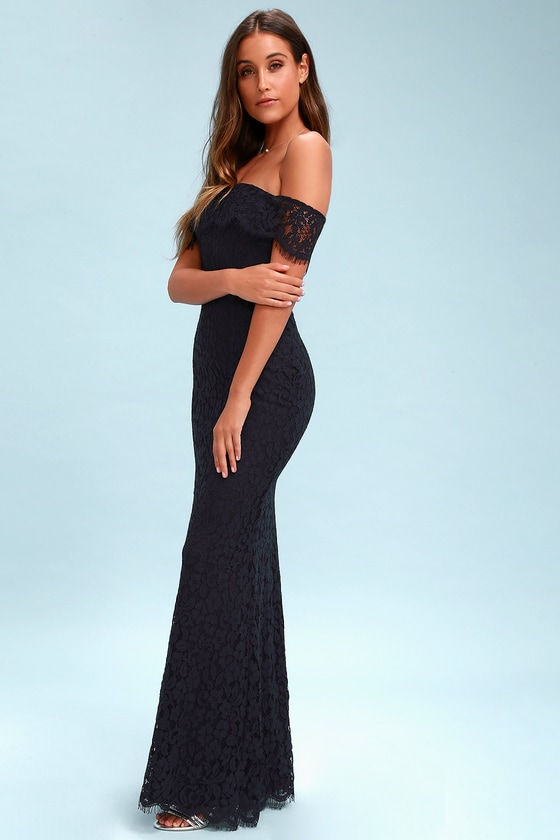 Romantic Heart Navy Blue Lace Off-the-Shoulder Maxi Dress