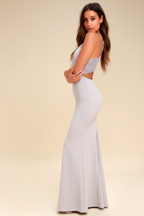 Love Story Light Grey Backless Lace Maxi Dress