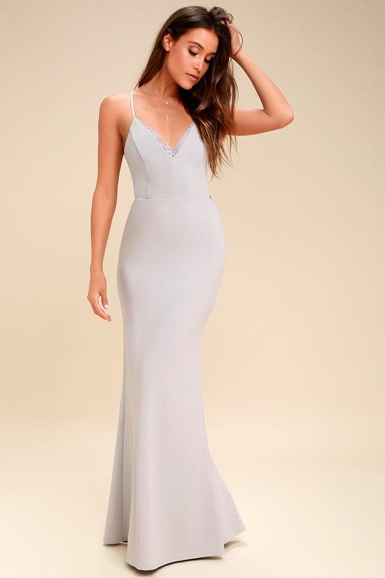 Chic Light Grey Maxi Dress - Lace Dress - Backless Dress