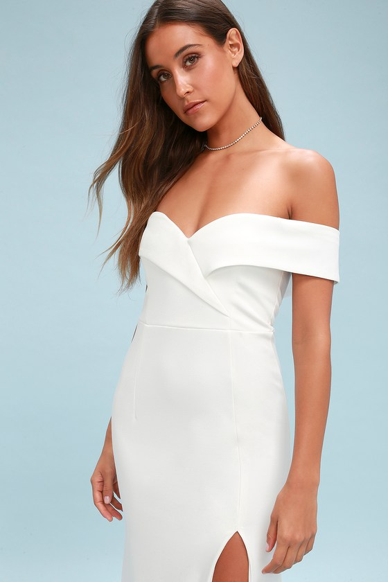 Song of Love White Off-the-Shoulder Maxi Dress